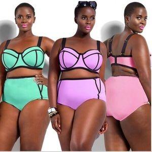 Neon High Waisted Bikini Pink or Purple